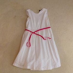 Lands End White dress with a pink ribbon belt